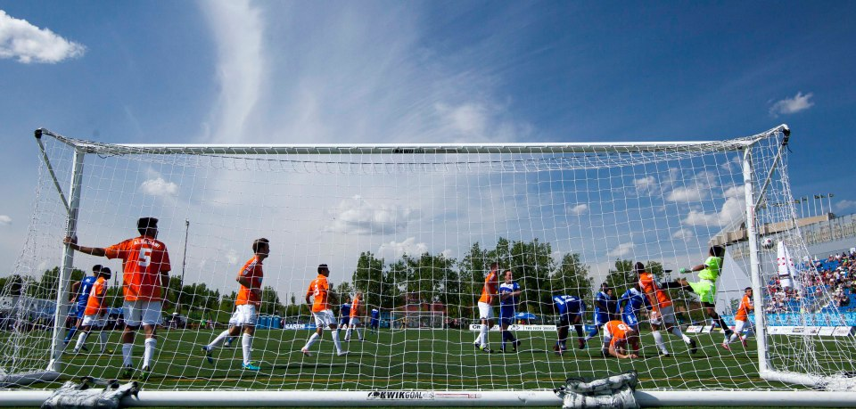 FC Edmonton narrowly miss the net in a 2014 game against the Carolina RailHawks.