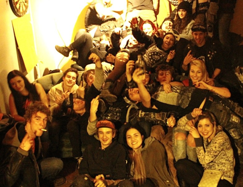 The bands and audience, including writer Alex Sorochan, pile onto the stacks of couches after the Nov. 7, 2015 show.