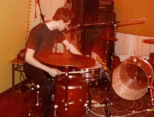 Chad Fougere playing drums in Dad's Clone, part of a genre that's described 'drones with words and shit'.