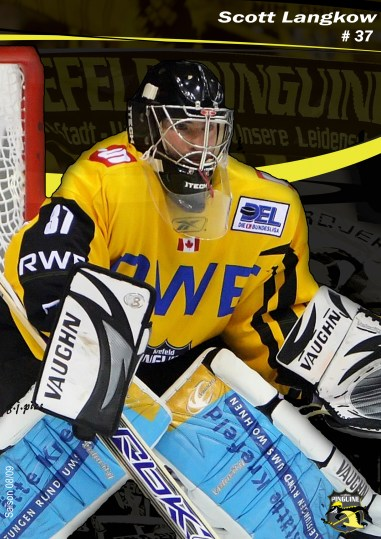 Langkow played for the Pinguin in Krefeld, Germany, for five years. (Photo by Christoph Jurgens, courtesy of Anya Langkow)