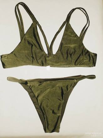 green two piece bathing suit