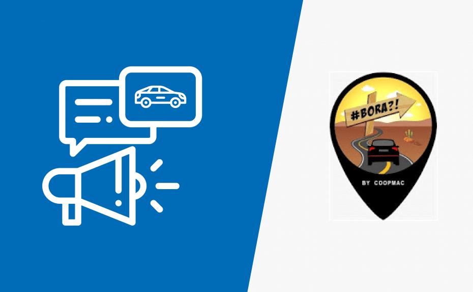 Na imagem ilustrações à esquerda de um carro e megafone, já na esquerda pin com logo do app Bora Cariri