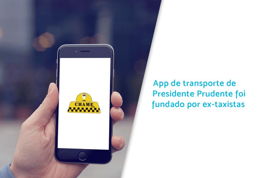 Mão segurando celular com app Chame Car