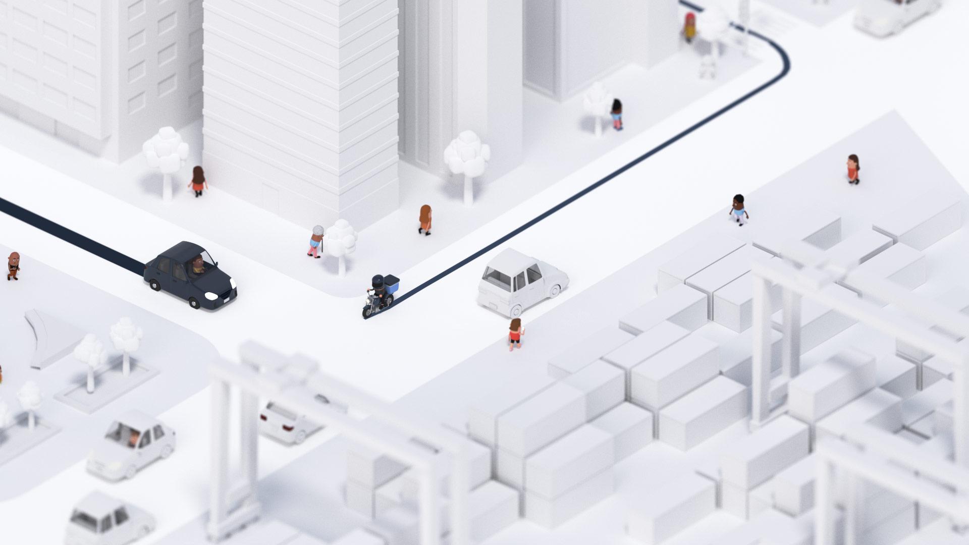Entregadores se deslocando pela cidade