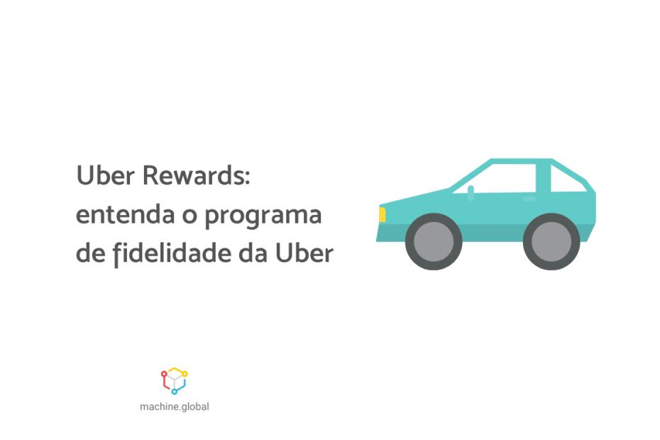 Ilustração de um carro azul, ao lado está escrito, Uber Rewards: conheça o programa de fidelidade da Uber