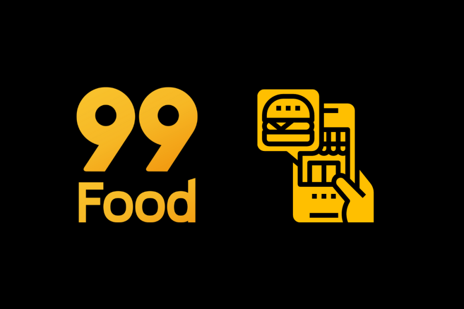99Food e uma mão pedindo hamburguer pelo celular
