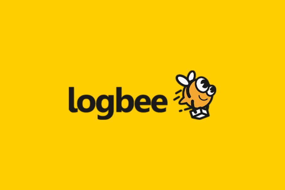 fundo amarelo escrito logbee em preto com uma abelha