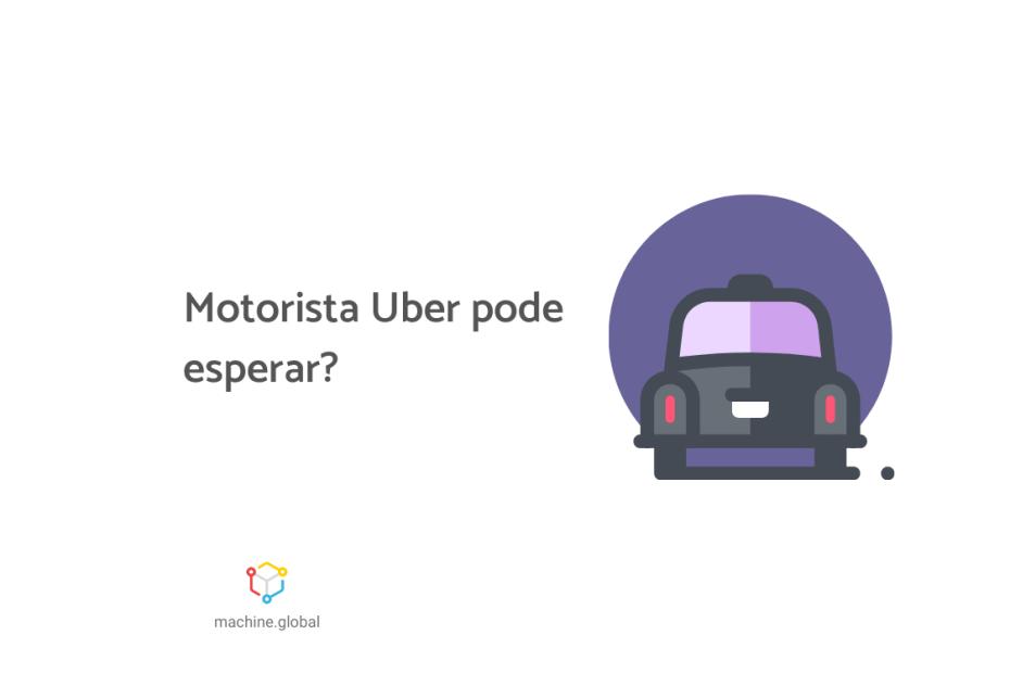 Ilustração de um veículo da cor preta, ao lado está escrito: motorista uber pode esperar?