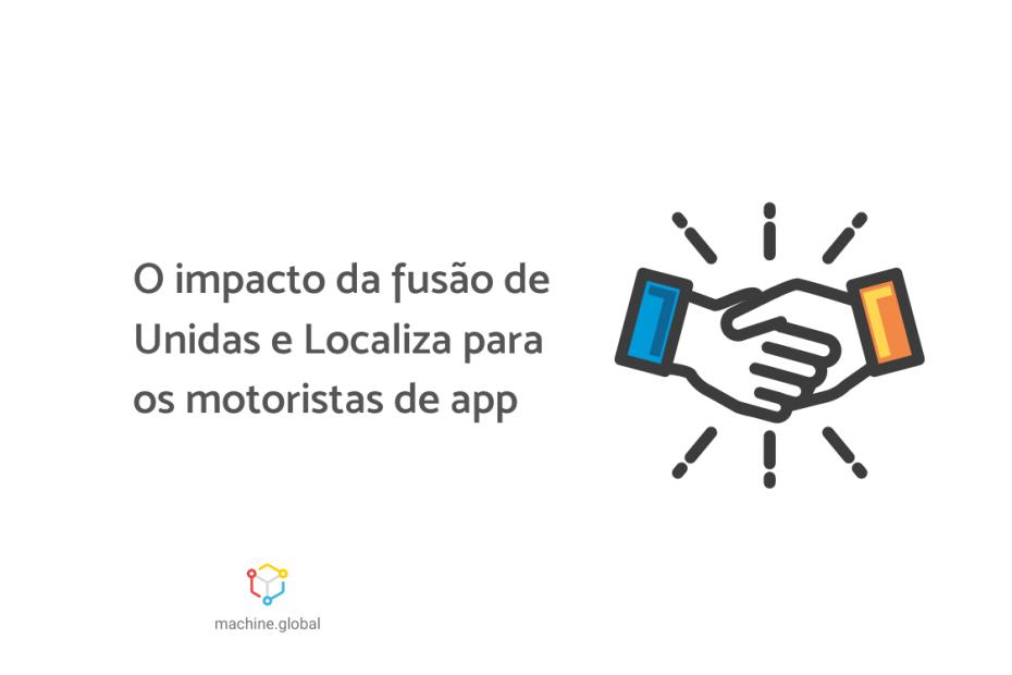 """Ilustração de duas mãos se cumprimentando, ao lado está escrito """"o impacto da fusão de unidas e localiza para os motoristas de app"""""""