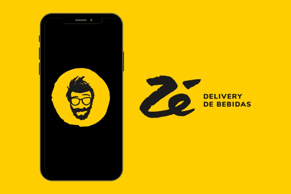 celular com fundo preto e logotipo do zé delivery