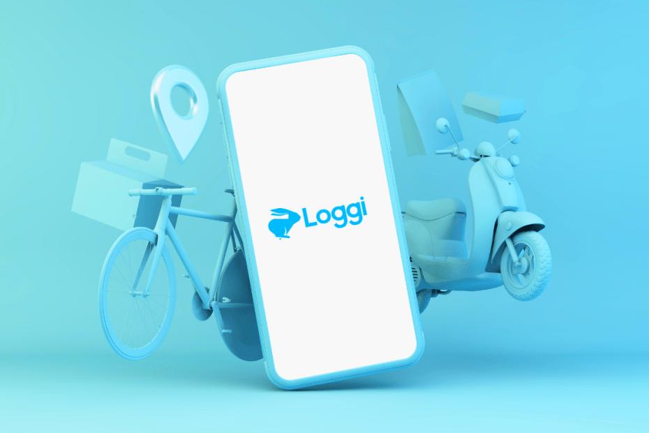 fundo azul com celular escrito loggi, moto, bicicleta e caixa