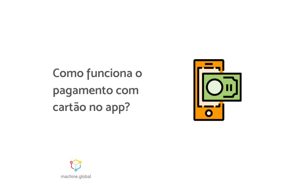 """Ilustração de um celular com um cartão em cima dele, ao lado está escrito: """"Como funciona o pagamento com cartão no app"""""""