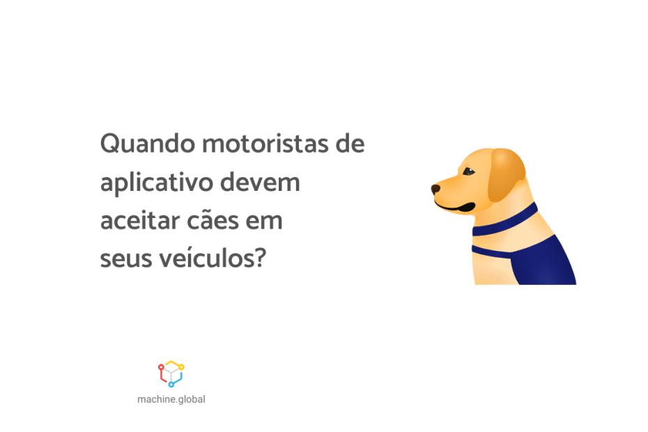 """Ilustração de um cão amarelado, ao lado está escrito """"Quando motoristas de aplicativo devem aceitar cães em seus veículos?""""."""