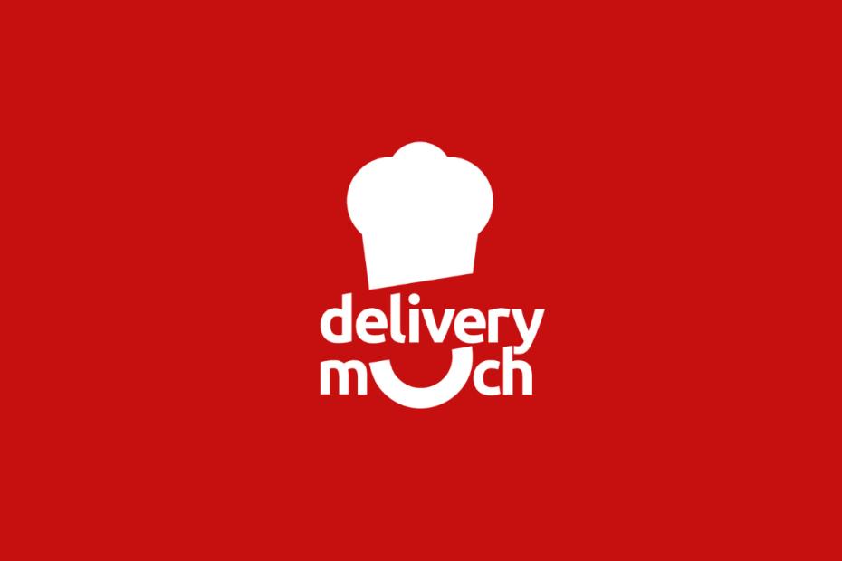fundo vermelho com o logotipo delivery much em branco