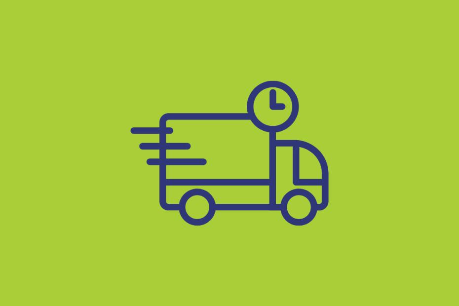 Fundo verde com a ilustração de um caminhão e um relógio ao lado.