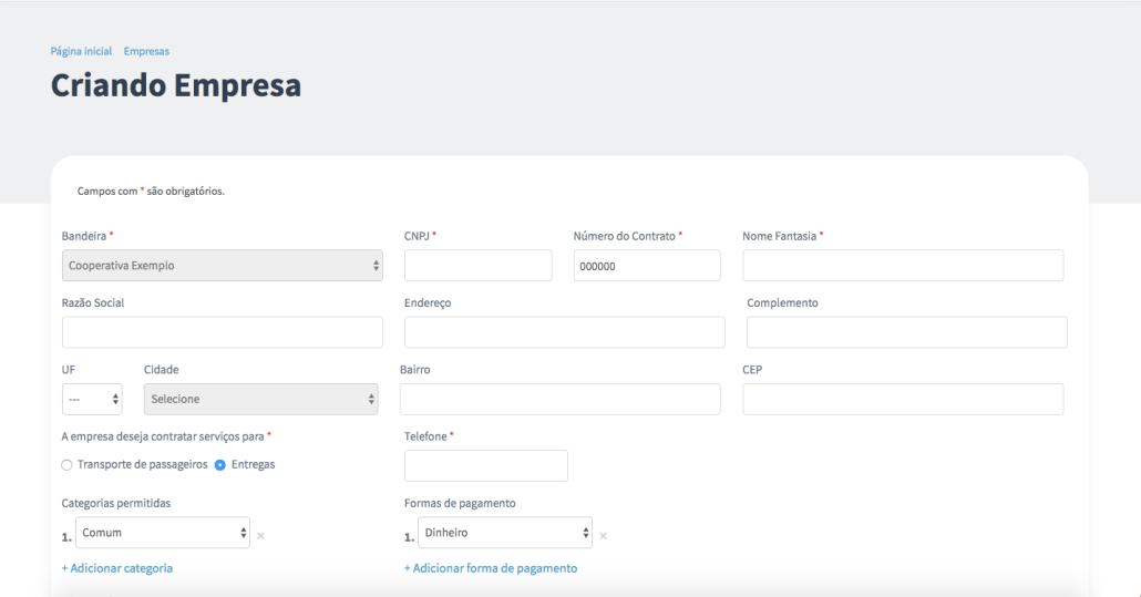 Captura de tela do painel de gestão do aplicativo Machine