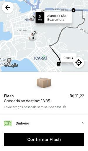 Tela da Uber na categoria Uber Flash