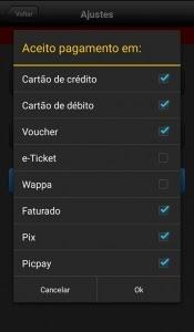 Formas de pagamento de um app da Machine