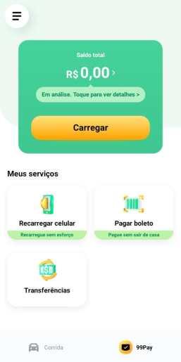 Captura de tela do aplicativo da 99pay