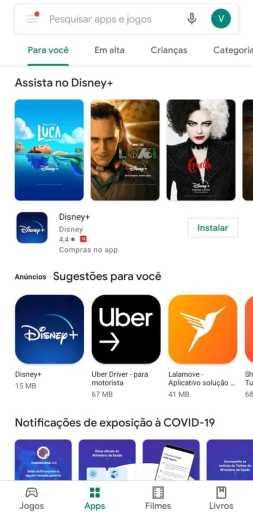 Captura de tela da Play Store