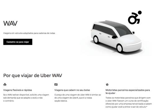Captura de tela do site Uber WAV. Temos um carro adaptado ao lado de uma ilustração de uma pessoa em cadeira de rodas. Ao lado uma breve descrição da categoria.