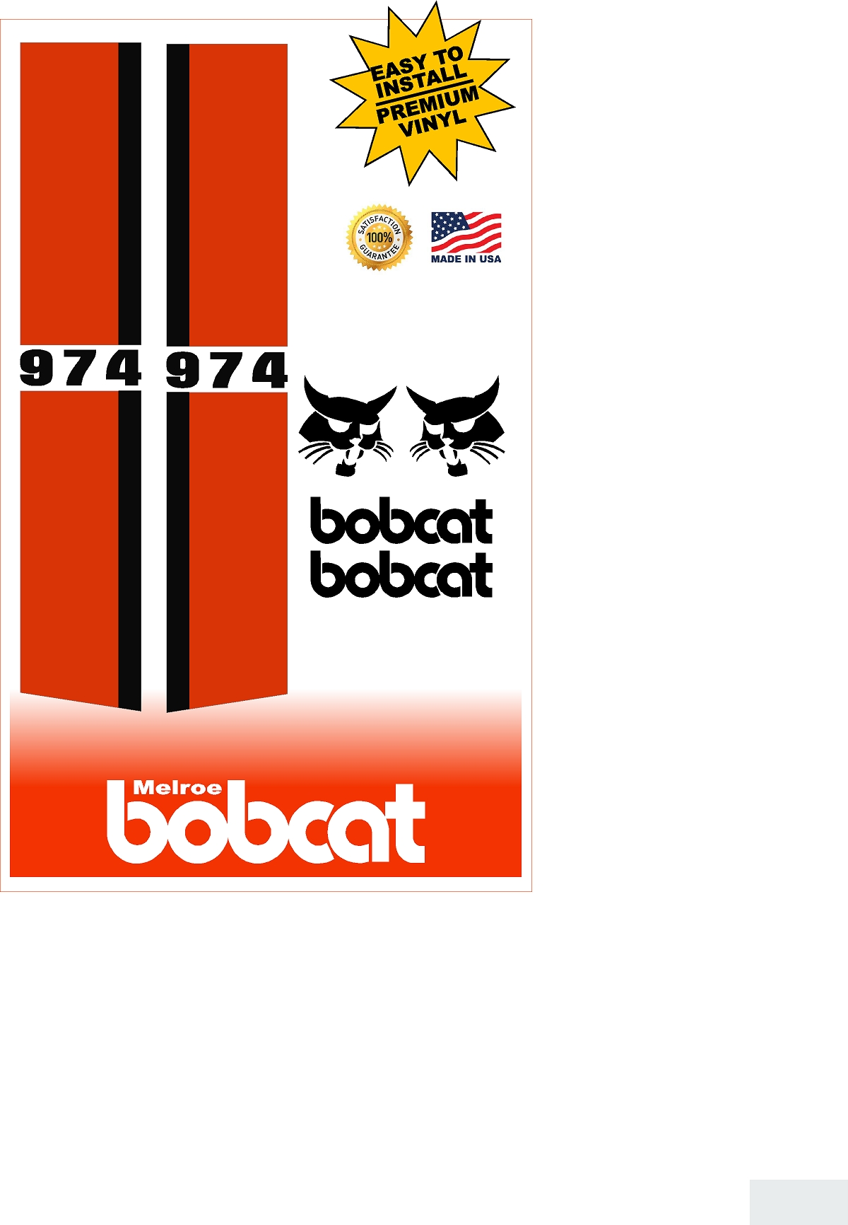 Decal Kits Product : Bobcat replacement decal kit machine decals