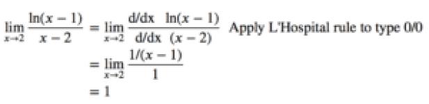 lim(𝑥→2) ln(x-1)/(x-2)=1