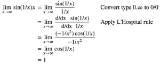lim(𝑥→∞) x.sin(1/x)=1