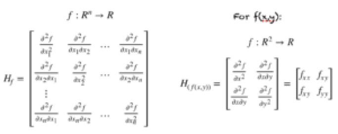 Hessian a function of n variables (left). Hessian of f(x,y) (right)