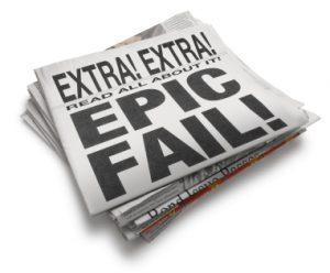 "Newspaper showing ""EPIC FAIL"" headline"