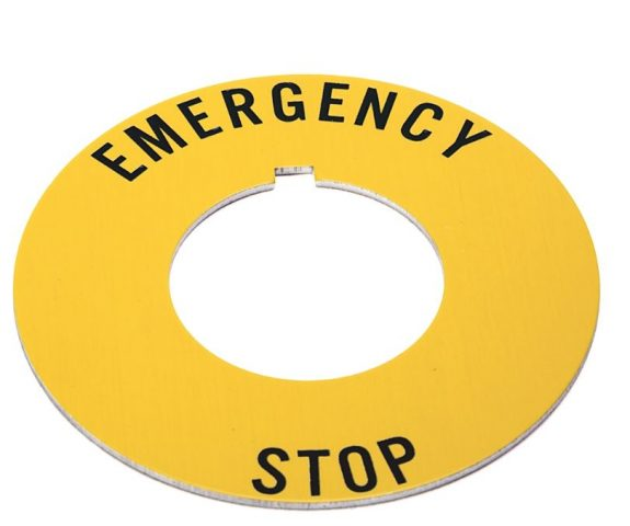 """Yellow circular legend plate with the words """"emergency stop"""" in black letters. Fits A-B 800T pushbutton operators."""