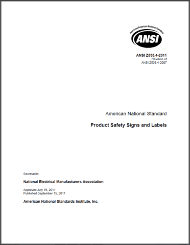 Safety label standard ANSI Z535.4 Product Safety Signs and Labels