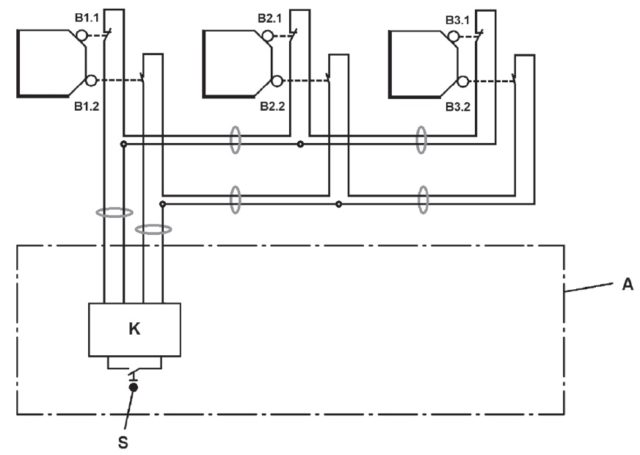 A part of ISO 24119 Fig 2 showing one method of daisy-chaining interlocking devices.