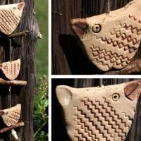 3 Vögel auf Treibholz - Fensterhänger - Keramik