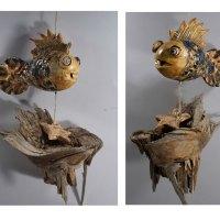 """Fensterhänger """"Fisch"""" Keramik mit Holz"""