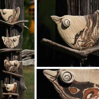 4 Vögel auf Treibholz – Garten – Keramik - Raumschmuck