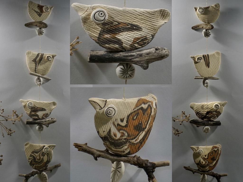 Fensterhänger Mobile 4 Vögel auf Treibholz – Fensterhänger, Keramik