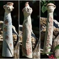 Spießgesellen - Keramik-Zaunhocker