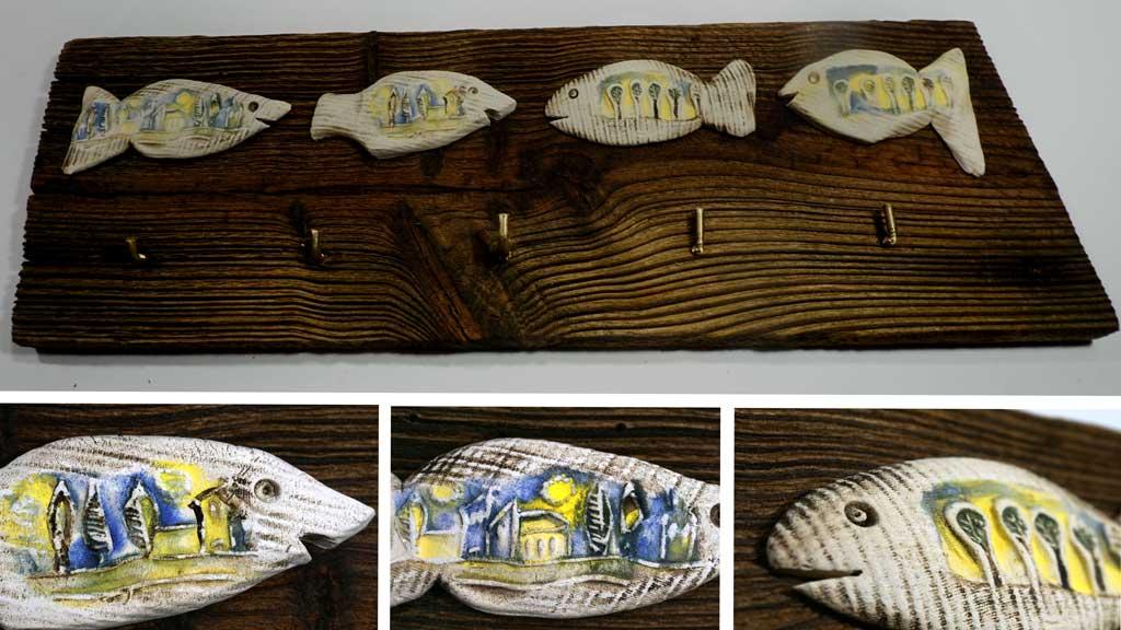 Schlüsselbrett Altholz Keramik