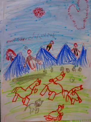 Auf dem Weg zur Brecherspitz eine Herde Kühe am Berg