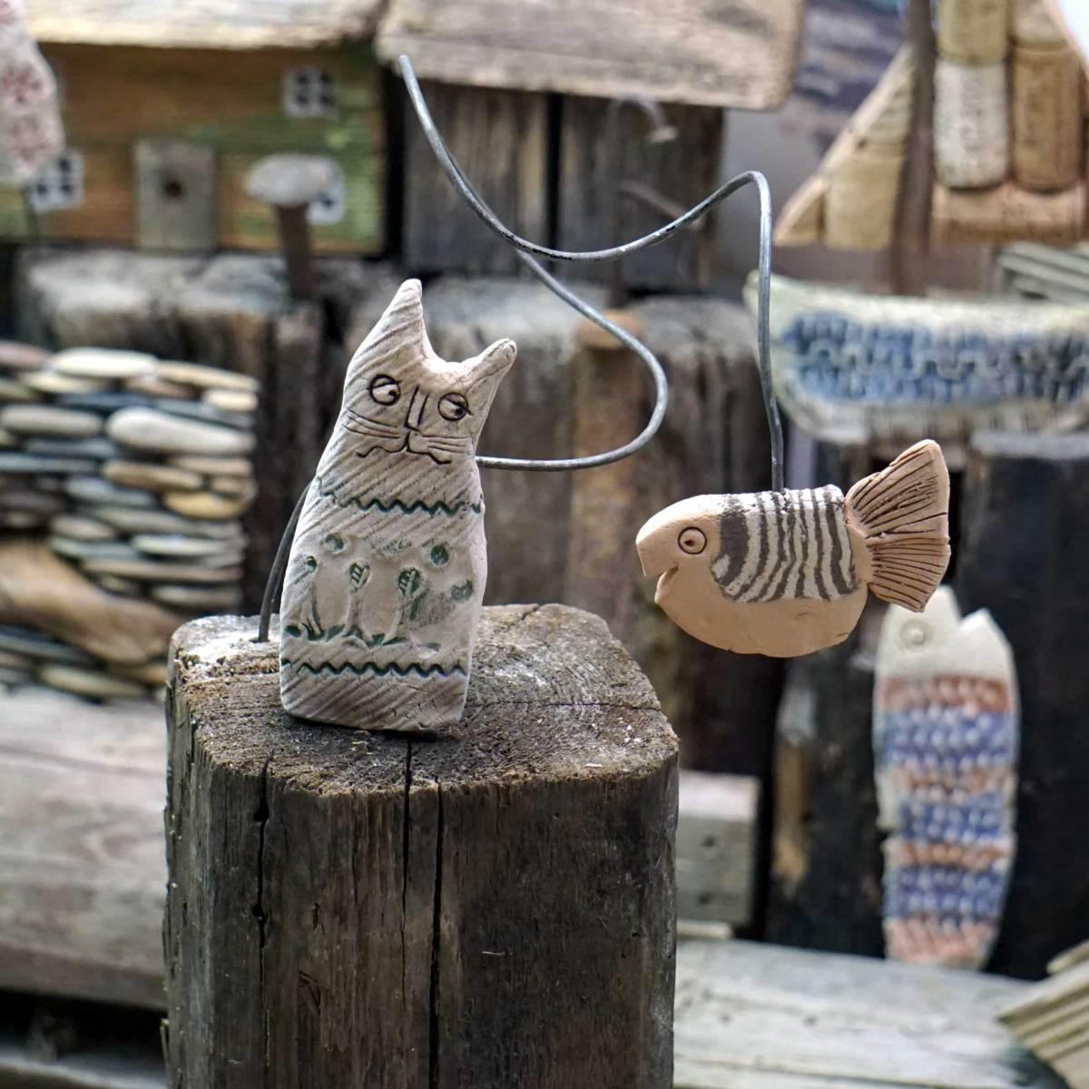 Katze mit leckerem Fisch