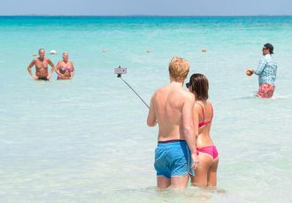 Say Cheese, Selfie Stick, Beach, Vacation, Couple, Ocean, Water, iPhone, Dolan Halbrook