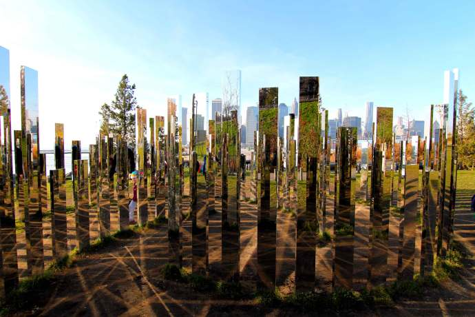 Jeppe Hein, Please Touch the Art, Mirrors, waterfront, Brooklyn, Dumbo, New York, Abstract