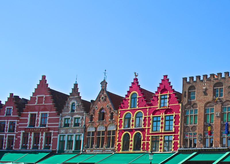 Bruges, Market Square, Belgium, Colourful, Buildings, Brugge
