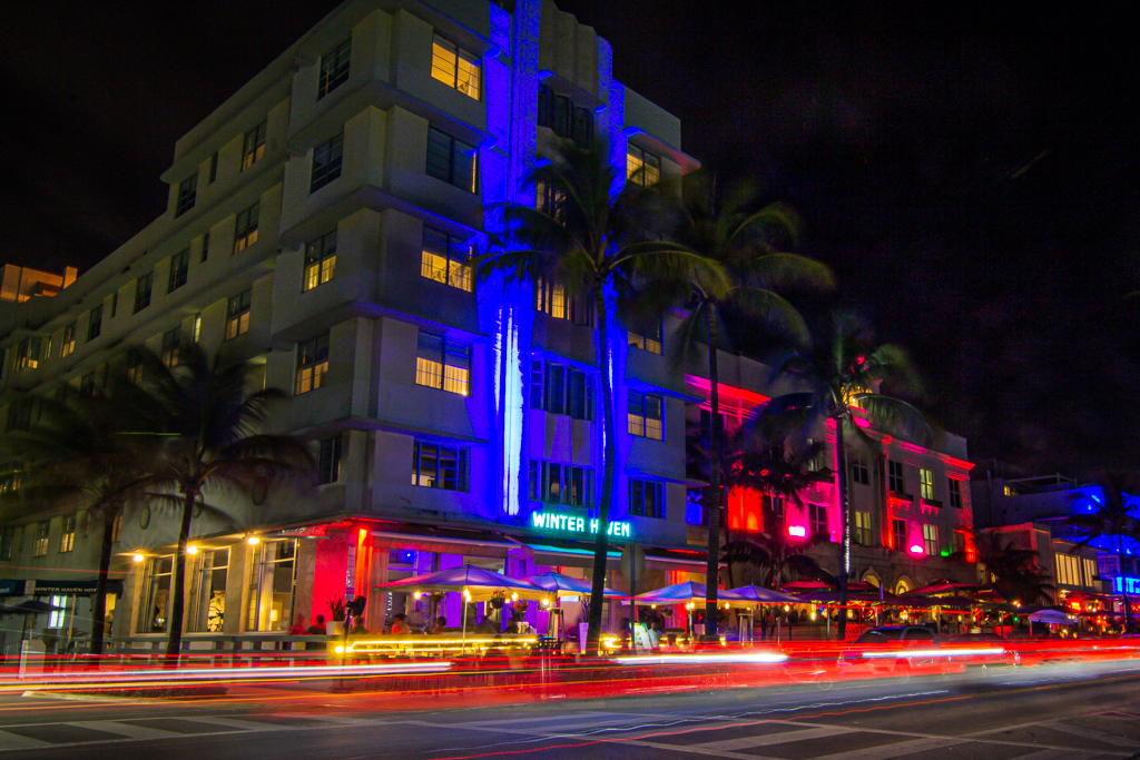 Night photo of the winter haven hotel