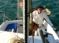 Our skipper nearing the end of the return passage