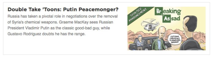Double Take 'Toons: Putin Peacemonger?