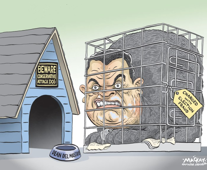 Dean del Mastro; Conservative Party of Canada; Canada; election fraud; spending; irregularities; Editorial Cartoon