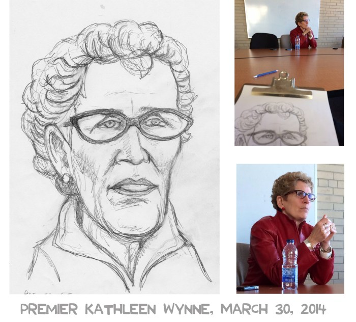 Kathleen Wynne sketch and photograph