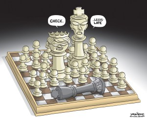 Editorial cartoon by Graeme MacKay, The Hamilton Spectator - Tuesday May 26, 2015 Wynne Government imposes back-to-work legislation on striking teachers The Ontario government will be tabling back-to-work legislation today for striking secondary school teachers, but since New Democrats won't be supporting it, students will be kept from class a few more days. NDP Leader Andrea Horwath says her party won't support the Liberals' motion for unanimous consent to get it passed today, but the government could use its majority to pass it by Thursday. That would mean more than 70,000 students in the Sudbury-area Rainbow District, Peel Region and Durham Region, who have been kept from class for up to five weeks, would return to school on Friday at the earliest. The back-to-work legislation is being introduced after the Education Relations Commission ruled that strikes by high school teachers in three boards are putting students' school years in jeopardy. Education Minister Liz Sandals says she respects the collective bargaining process, but it's important to get kids back to class to complete their school years. While the striking secondary teachers in three boards are set to be legislated back to work, their central union said this weekend that talks with the provincial government have reached an impasse. The Ontario Secondary School Teachers' Federation plans to apply to the provincial labour ministry for conciliation Ñ the teachers must first use the government third-party assistance to try to reach a contract before they can take provincewide strike action. The Ontario Labour Relations Board had also been set to rule on whether the three local strikes were illegal. This is the first round of negotiations under a new bargaining system the Liberal government introduced last year, separating the process into local and central talks. The school boards argued that the three local strikes were really on central issues such as class sizes. (Source: Hamilton Spectator)